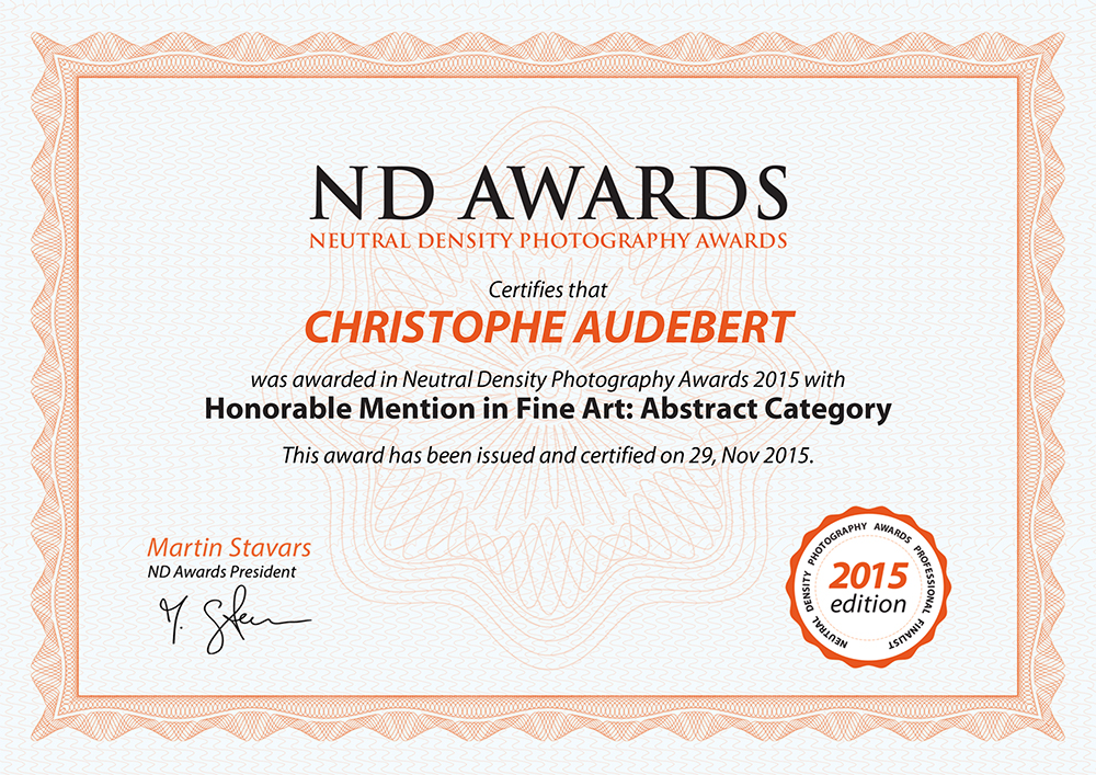 Certificat ND Award Honorable Mention Fine Art Abstract