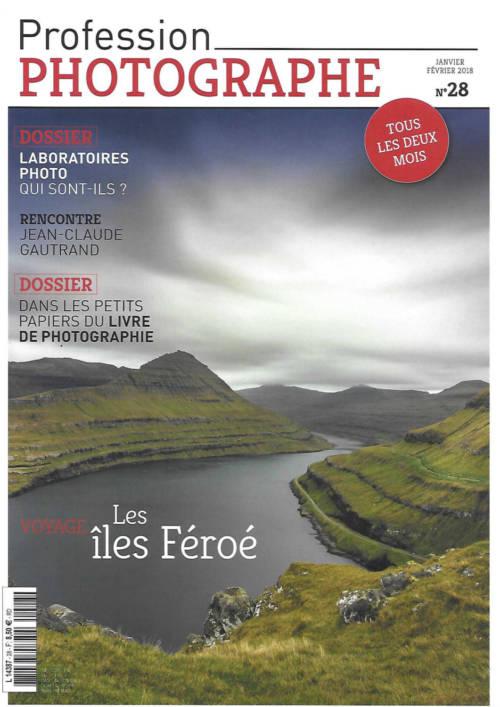 Couverture du magazine Profession Photographe janvier - février 2018