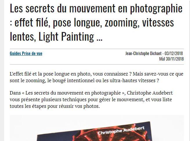 Revue livre Les secrets du mouvement en photo, par le blog Nikon Passion